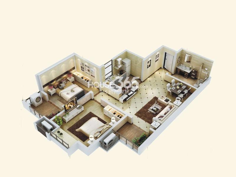 阳光城西西里C3户型立体图2室2厅1卫1厨 85.00㎡
