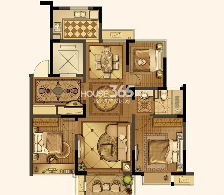 山湖湾一期高层标准层A2户型3室2厅1卫1厨 92.00㎡