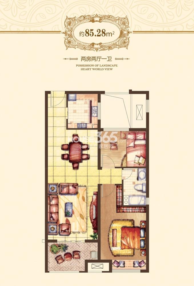 融侨观邸一期01-06#标准85.28平方米户型(6.19)