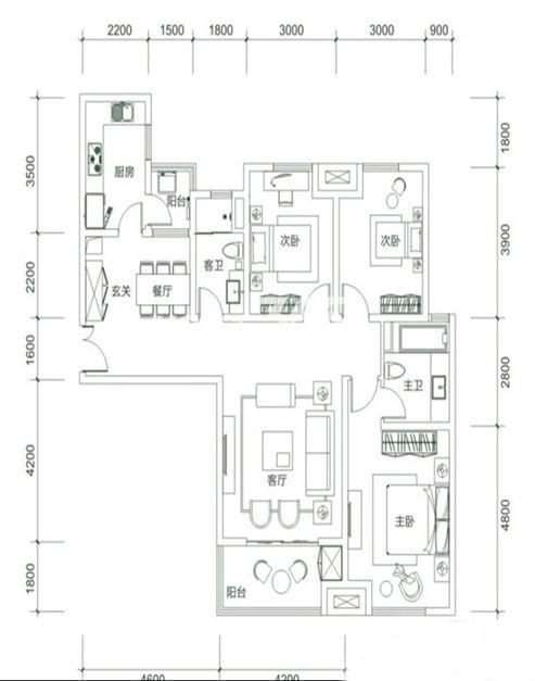 白桦林明天A5户型3室2厅2卫1厨 135.00㎡