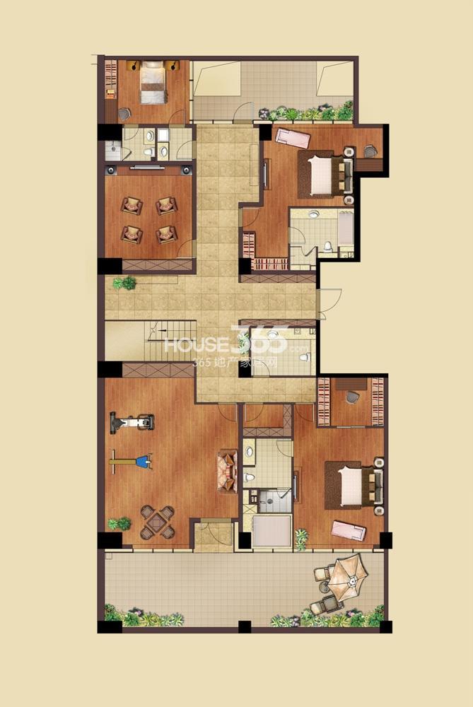 远洋国际中心1期2号楼F1跃层一层户型图  5室2厅4卫1厨(10.29)