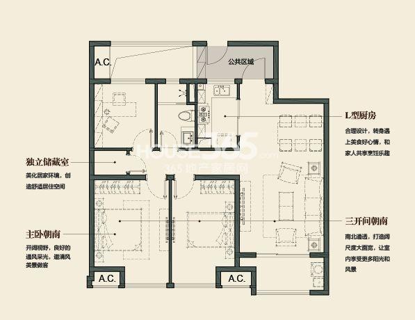 万科金域缇香103平方米户型(售空)