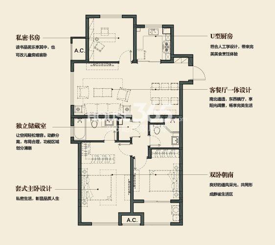 万科金域缇香121平方米户型(售空)
