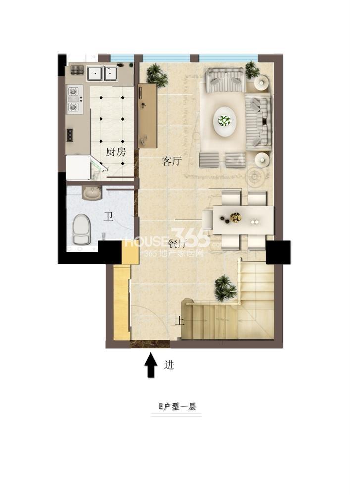 东方红郡公寓E户型一层