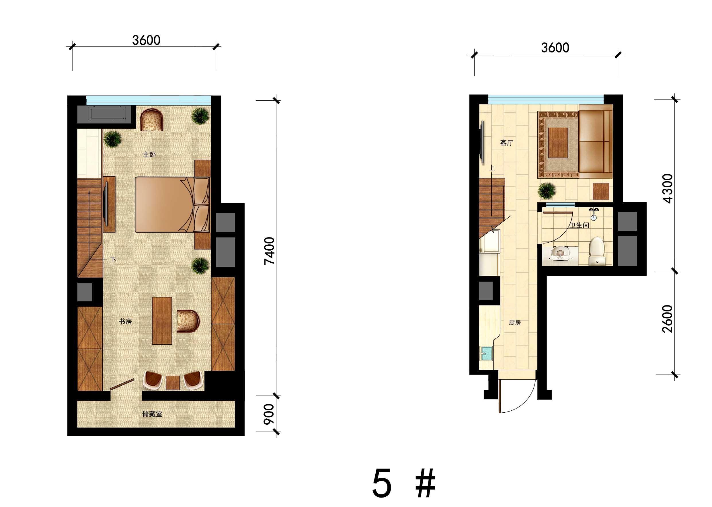 国瑞中心5#户型,29㎡,1室1厅1厨1卫