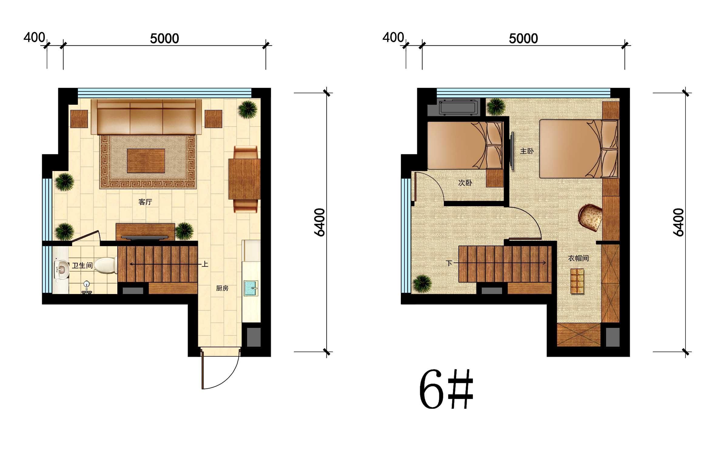 国瑞中心6#户型,42㎡,2室1厅1厨1卫