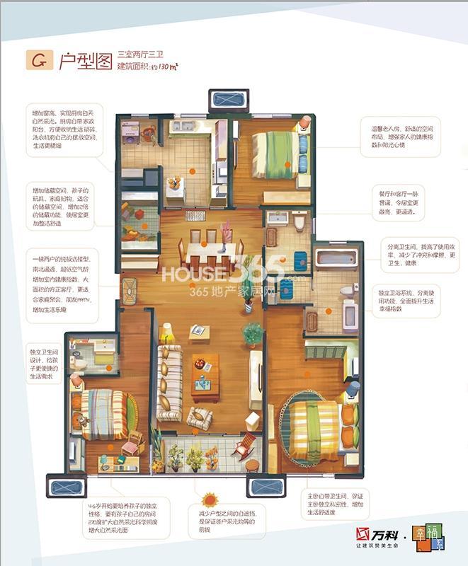 万科金色悦城二期幸福系G户型三室两厅三卫130平米