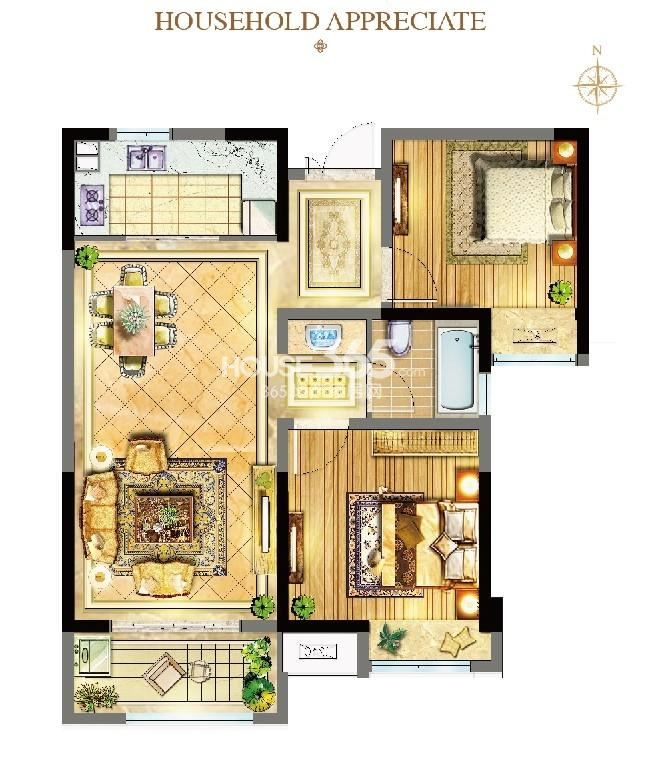 威尼斯水城12街区89㎡B2户型图(3.28)