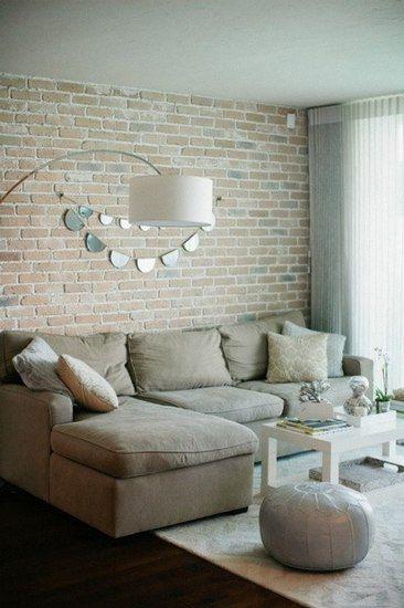 40图图给你呈现砖墙装饰的简约欧式风格客厅!