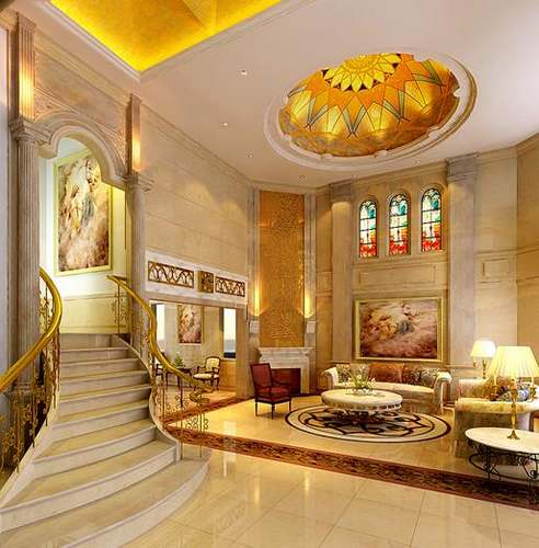 欧式别墅客厅吊顶 14图装修设计充满奢华气息-365