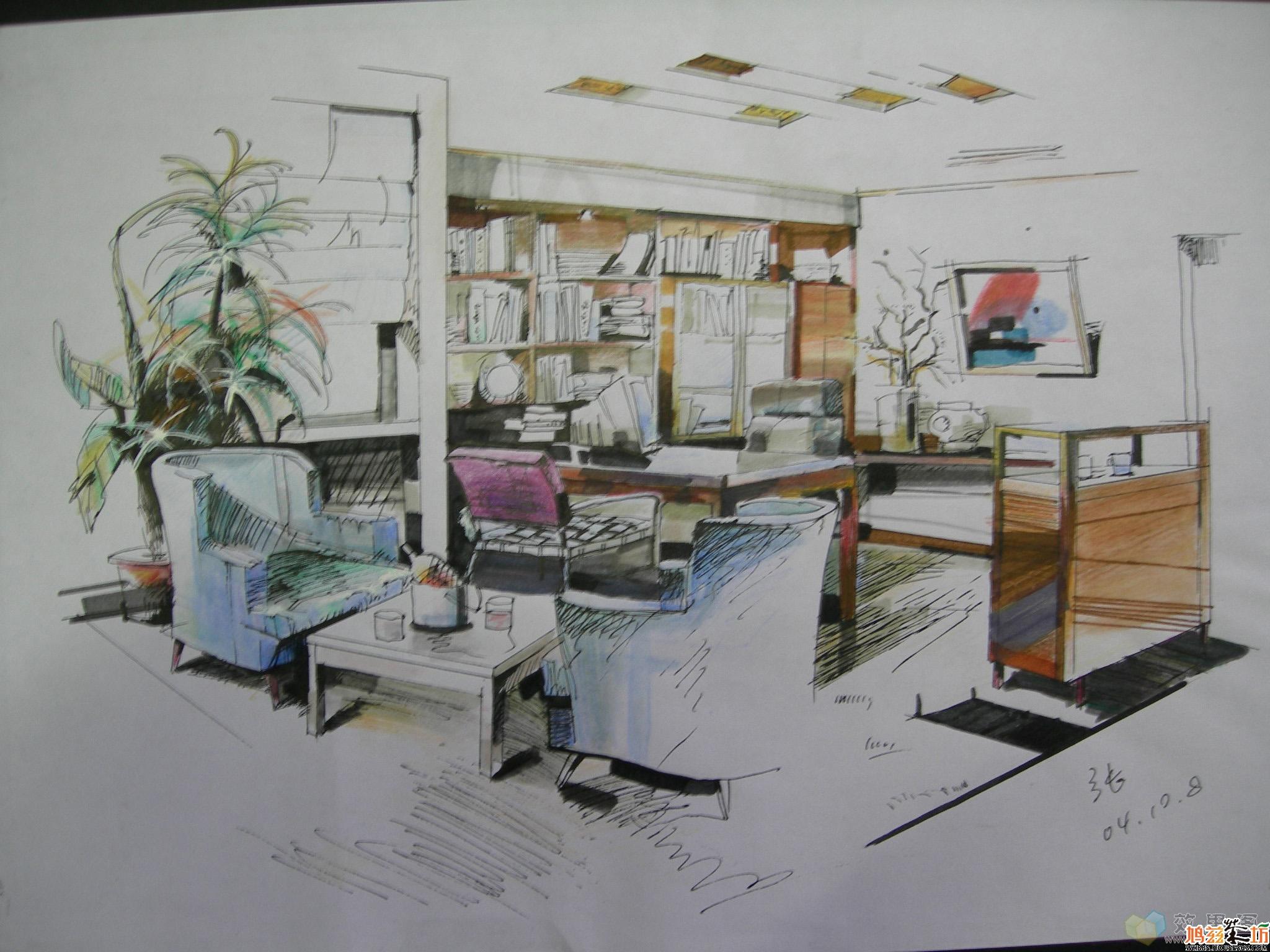 书房设计手绘效果图(三)