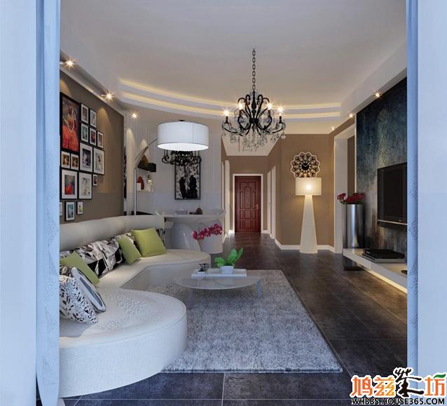 中国室内装修效果图之时尚范儿:年轻人有活力,背景墙选用一面大大的照