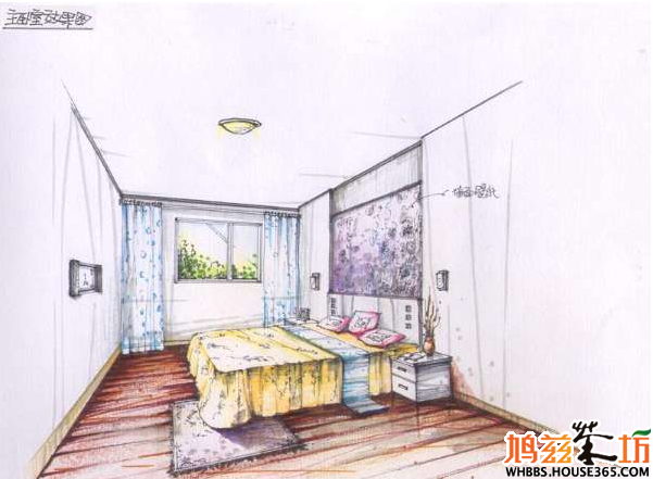室内设计手绘教程 ——主卧手绘效果图