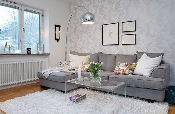 38平米小屋装修客厅沙发背景墙、沙发、灯具、地毯