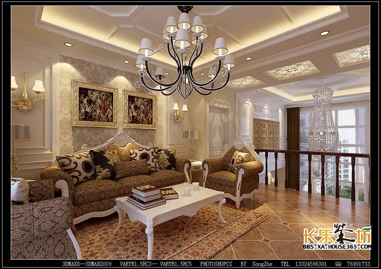 床头背景选用欧式pu线条处理,选用欧式大花壁纸,其他墙面选用咖色暗花
