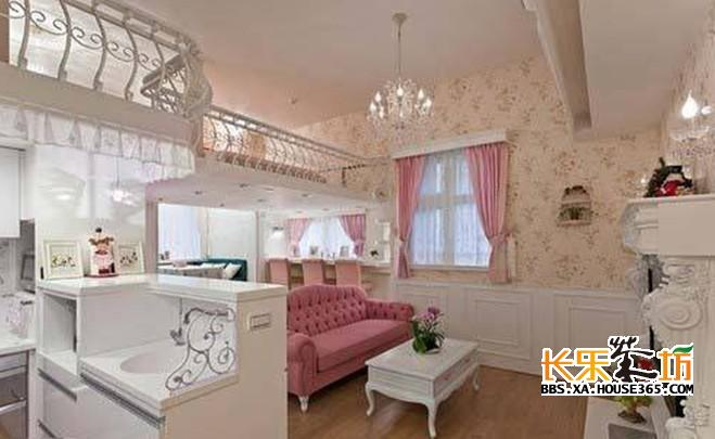 复式装修样板房之浪漫粉红色婚房